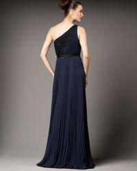 Carmen Marc Valvo - Blue One-shoulder Lace-detail Gown - Lyst