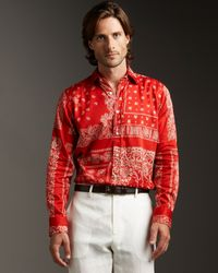 Etro - Red Bandana-print Woven Shirt for Men - Lyst
