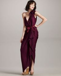 Lanvin | Purple Washed-satin Flower Gown | Lyst