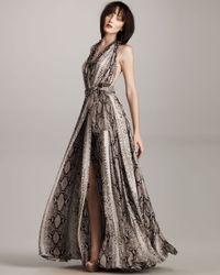 Lanvin - Multicolor Satin Python-print Gown - Lyst