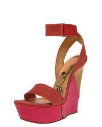 Lanvin   Pink Ankle-wrap Wedge Sandal   Lyst
