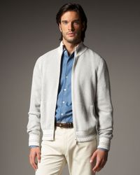 Loro Piana | Metallic Silk-cashmere Bomber Jacket for Men | Lyst