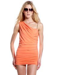 Michael Kors | Orange Draped One-shoulder Swimdress | Lyst