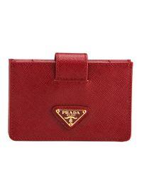 Prada | Red Saffiano Leather Accordion Card Case | Lyst