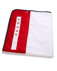Prada | White Logo Beach Towel for Men | Lyst
