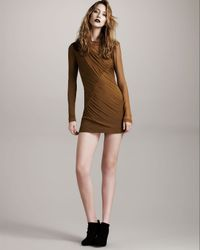 Rag & Bone | Metallic Edita Ruched Silk Long Sleeve Dress | Lyst