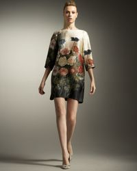 Stella McCartney - Multicolor Silk Dress with Floral Print - Lyst