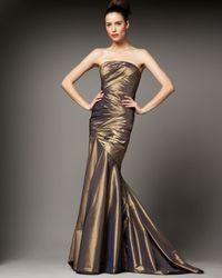 Carmen Marc Valvo - Metallic Ruched Mermaid Gown - Lyst