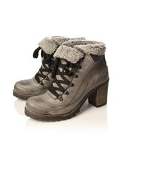 Carvela Kurt Geiger - Gray Shelly Faux Fur Hiking Boot - Lyst