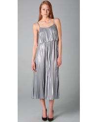 Halston - Metallic Pleated Lamé Dress - Lyst