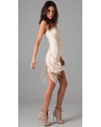 Hervé Léger - White Strapless Dress with Fringe Detail - Lyst
