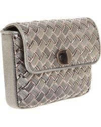 Bottega Veneta | Metallic Intrec Snake Papier Clutch | Lyst