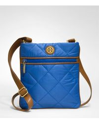 Tory Burch | Blue Alice Quilted Nylon Large Messenger Bag | Lyst
