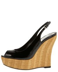 Gucci - Black Sofia Patent Leather Straw Wedges - Lyst