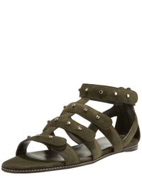 Gucci | Green Studded Gladiator Flat | Lyst