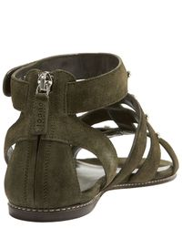 Gucci | Green Studded Gladiator Flat | Lyst