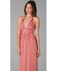 MILLY | Pink Rope-print Stretch-jersey Maxi Dress | Lyst