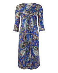 Etro   Blue Painted Floral Print Dress   Lyst