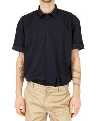 Calvin Klein - Blue Short Sleeved Poplin Shirt for Men - Lyst