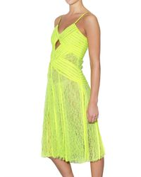 Christopher Kane | Yellow Jessica Pleated Neon Lace Dress | Lyst