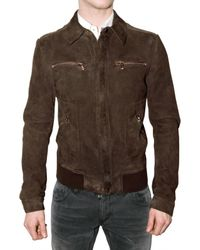 Dolce & Gabbana | Brown Steamed Suede Jacket for Men | Lyst