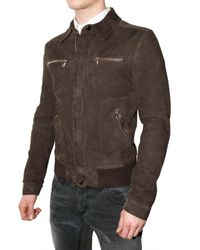 Dolce & Gabbana | Brown Steamed Suede Jacket for Men | Lyst