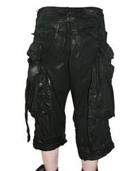 Julius | Black Waxed Cotton Denim Shorts for Men | Lyst