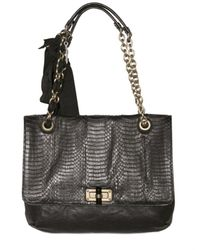 Lanvin | Black Happy Medium Watersnake Shoulder Bag | Lyst