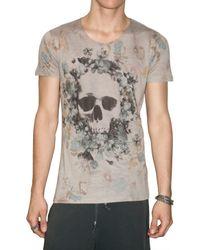 Max Six - Gray Flower Skull Jersey T-shirt for Men - Lyst
