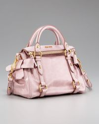 Miu Miu | Pink Vitello Lux Baby-bow Bag | Lyst