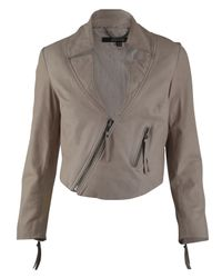 Muubaa | Light Pink Cropped Leather Jacket | Lyst