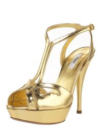 Prada | Metallic T-strap Platform Sandal | Lyst