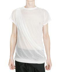 Rick Owens | White Sheer Silk Jersey T-shirt for Men | Lyst