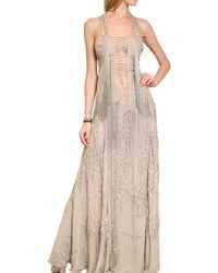 Roberto Cavalli - Natural Fringed Long Georgette Dress - Lyst