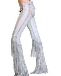 Roberto Cavalli | Blue Fringed Leatehr Trousers | Lyst