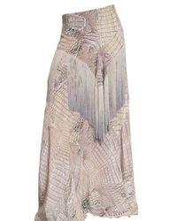 Roberto Cavalli - Purple Croc Print Fringed Crepe De Chin Skirt - Lyst