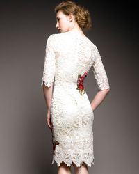 Dolce & Gabbana - Natural Floral-embroidered Lace Dress - Lyst