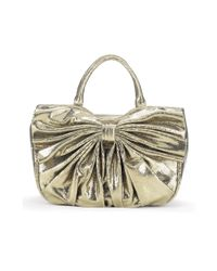 Lulu Guinness | Metallic Pewter Snakeskin Lips Clutch | Lyst