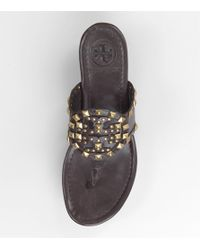 Tory Burch | Brown Marissa Studded Logo Sandal | Lyst