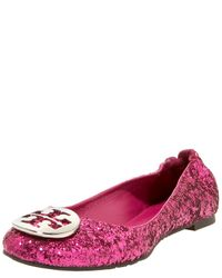 Tory Burch | Pink Reva Glittered Ballerina, Fuchsia | Lyst