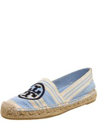 Tory Burch - Blue Striped Flat Espadrille - Lyst