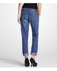Tory Burch - Blue Tomboy Metallic Brush Jean - Lyst