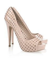 Miu Miu | Natural Perforated Patent-leather Peep-toe Pumps | Lyst
