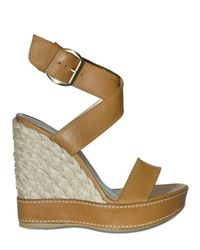 Stuart Weitzman | Brown 120mm Calfskin Espadrille Wedges | Lyst
