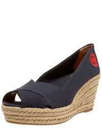 Tory Burch | Blue Crisscross Canvas Espadrilles | Lyst