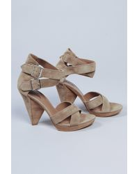 Belle By Sigerson Morrison | Natural Platform Suede Criss Cross Sandal in Fango | Lyst