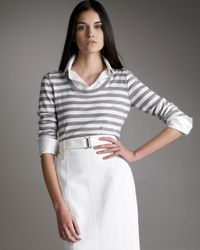 Akris | White Striped Sweater with Detachable Collar | Lyst