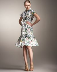 Carolina Herrera | Multicolor Botanical-print Shirtdress | Lyst
