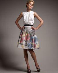 Carolina Herrera | Multicolor Floral Print Taffeta Party Skirt | Lyst
