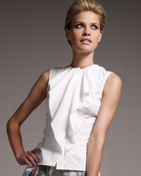 Carolina Herrera | White Ruffled Poplin Blouse | Lyst